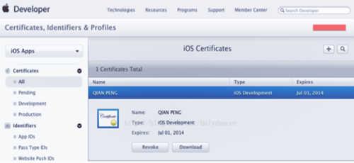 点击Download下载创建好的发布证书(cer后缀的文件),然后点击Done,你创建的发布证书就会存储在帐号中