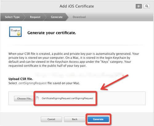 点击choose File.. 选择创建好的证书请求文件:CertificateSigningRequest.certSigningRequest 文件,点击Generate
