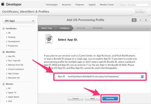 在App ID 这个选项栏里面找到你刚刚创建的:App IDs(Bundle ID) 类型的套装,点击Continue