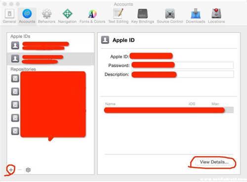 打开Xcode,配置项目环境,点击+可以选择Add Apple ID